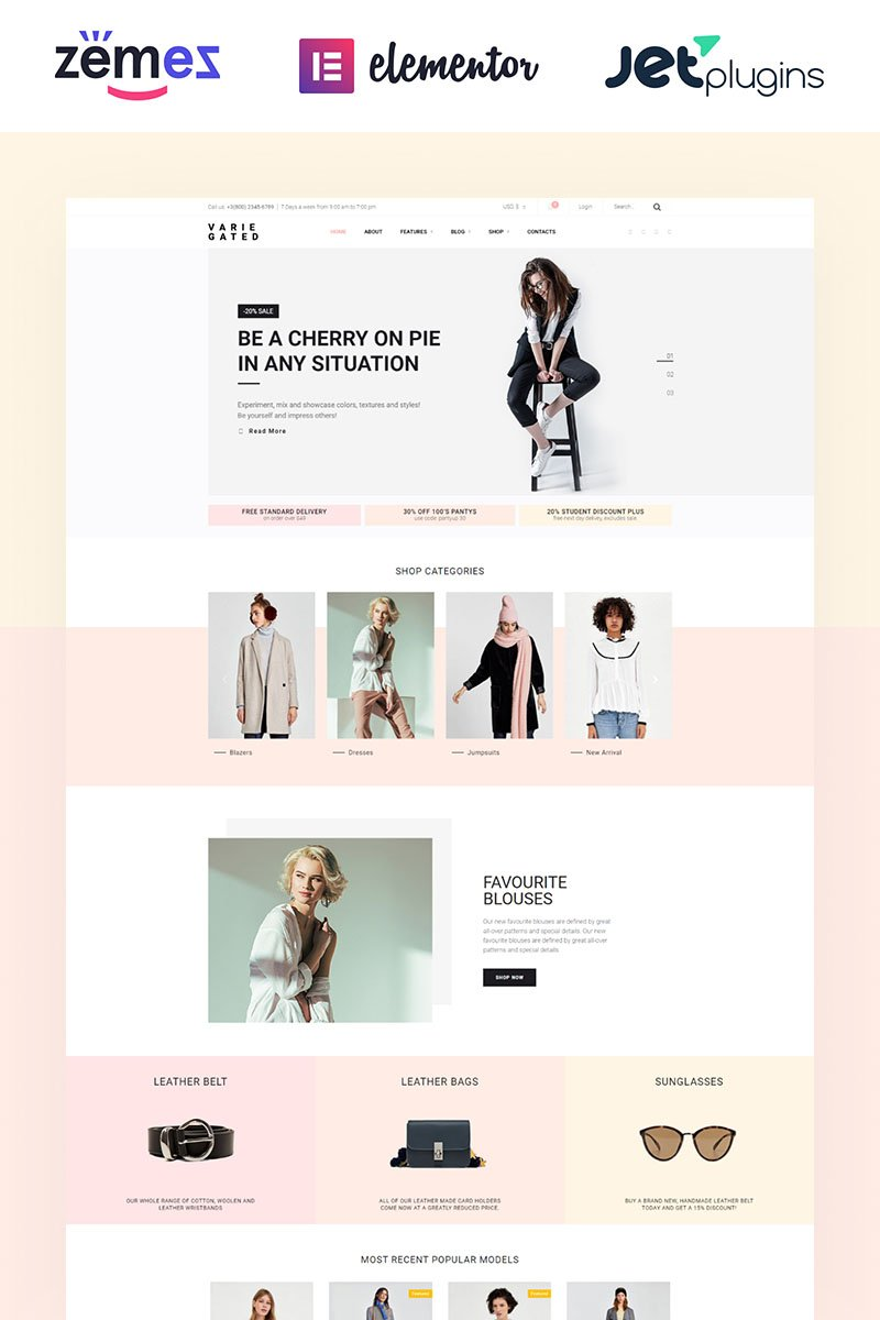 "Tema WooCommerce Responsive #69021 ""Varie Gated - Fashion Online Store Elementor"" - screenshot"