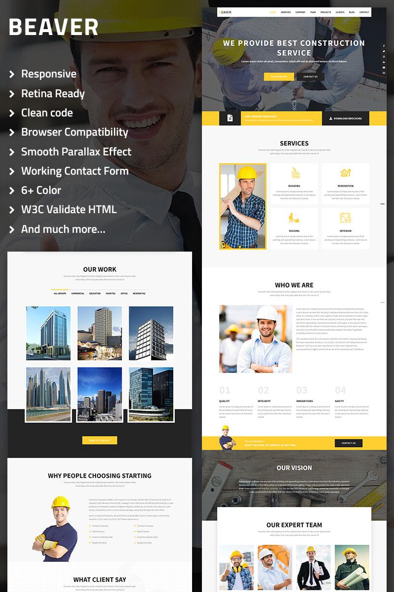 """""""Beaver - Construction, Architecture & Building Multipurpose"""" modèle  de page d'atterrissage  #69125 - screenshot"""