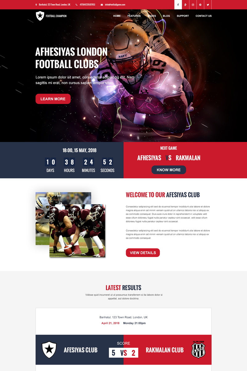 Bootstrap Football Champion - Sports Psd #69134
