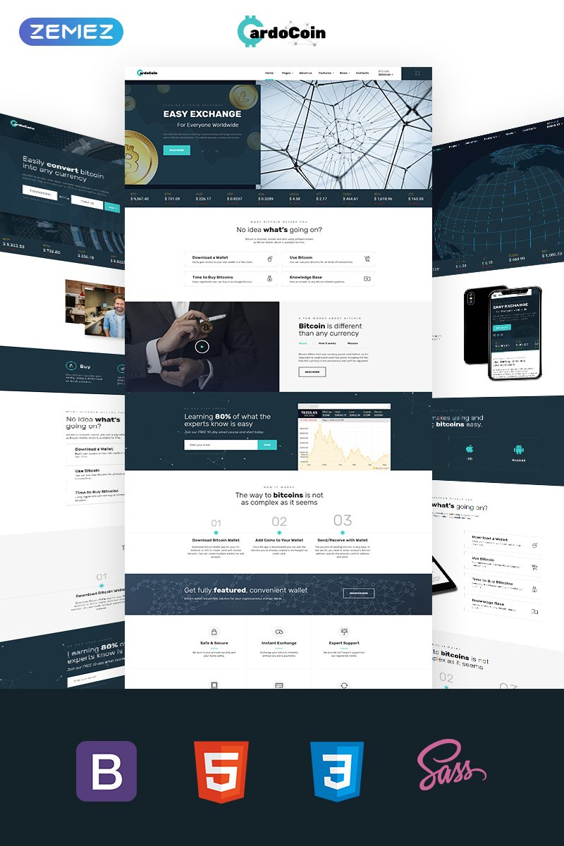 """""""CardoCoin - Bitcoin Multipage HTML5"""" Responsive Website template №69116"""