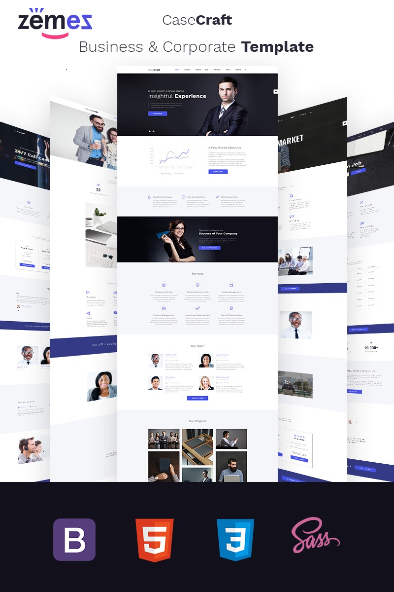"""CaseCraft - Elegant Financial Company Multipage"" Responsive Website template №69119"