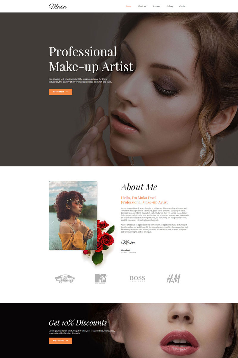 """MUKA - Make-up & Salon"" Responsive Muse Template №69141"