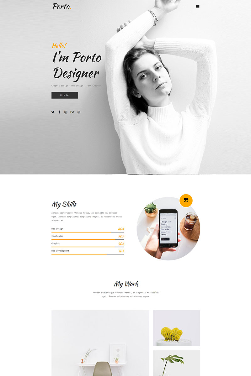 Porto - Personal Сreative Template Muse №69135