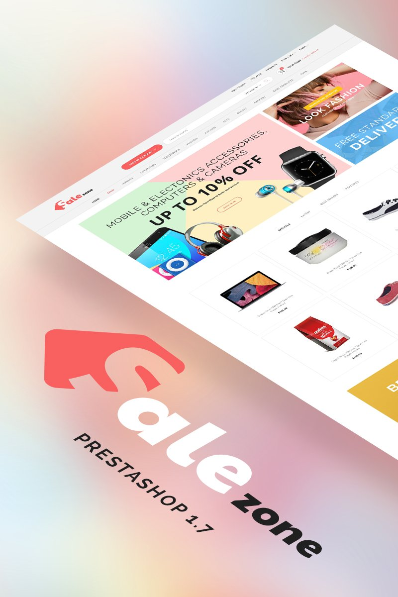 """""""SaleZone - Great Store means Great Choice"""" Responsive PrestaShop Thema №69100"""