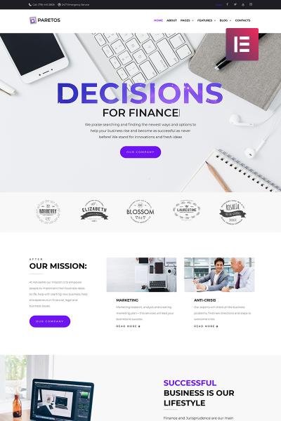 Paretos - Business Services Elementor WPML ready Plantilla de WordPress #69118