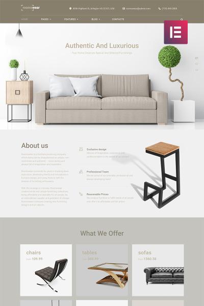 Адаптивный WordPress шаблон №69255 на тему мебель