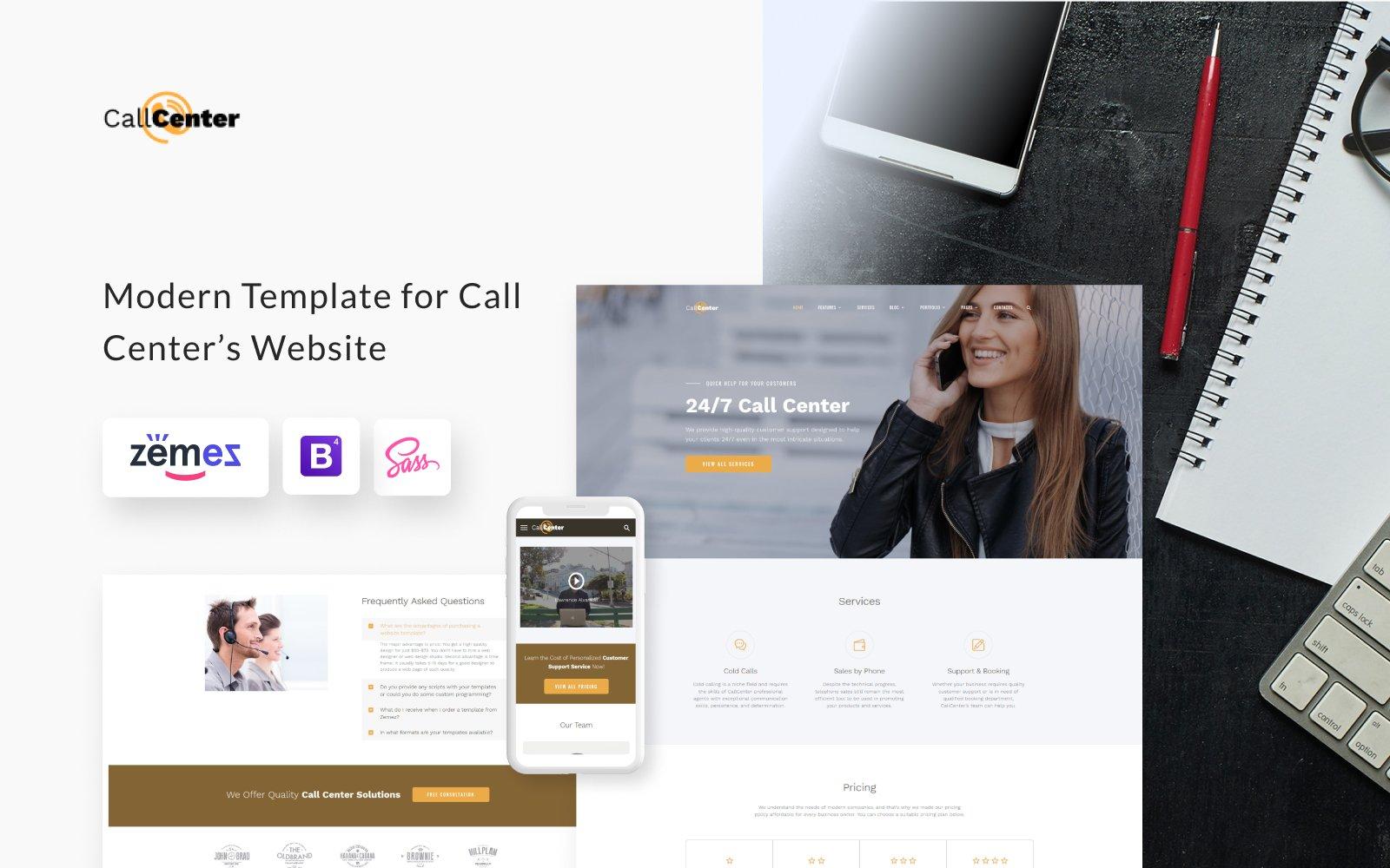 """Call Center Multipage HTML5"" - адаптивний Шаблон сайту №69212"