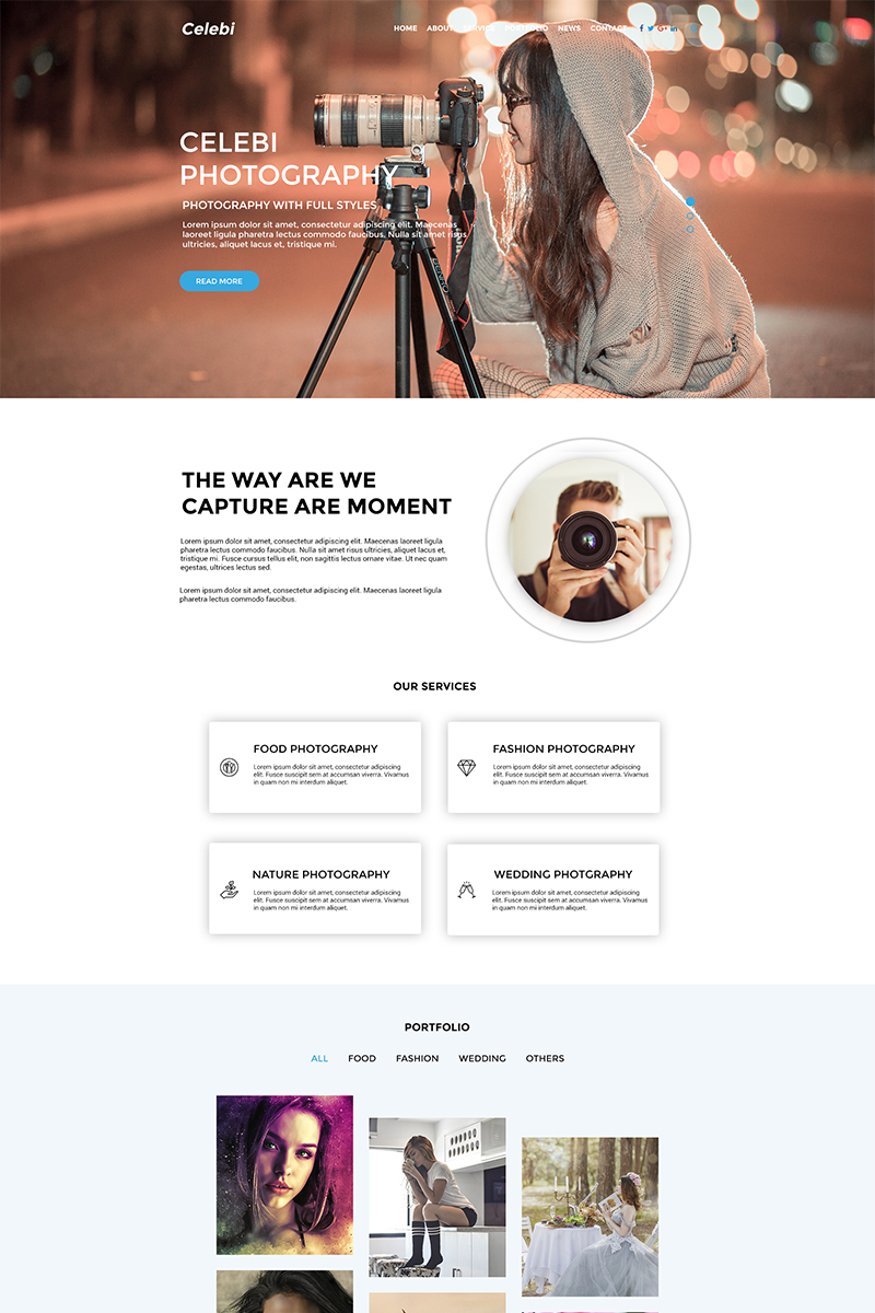 """Celebi - Professional Photography Website"" - PSD шаблон №69266"