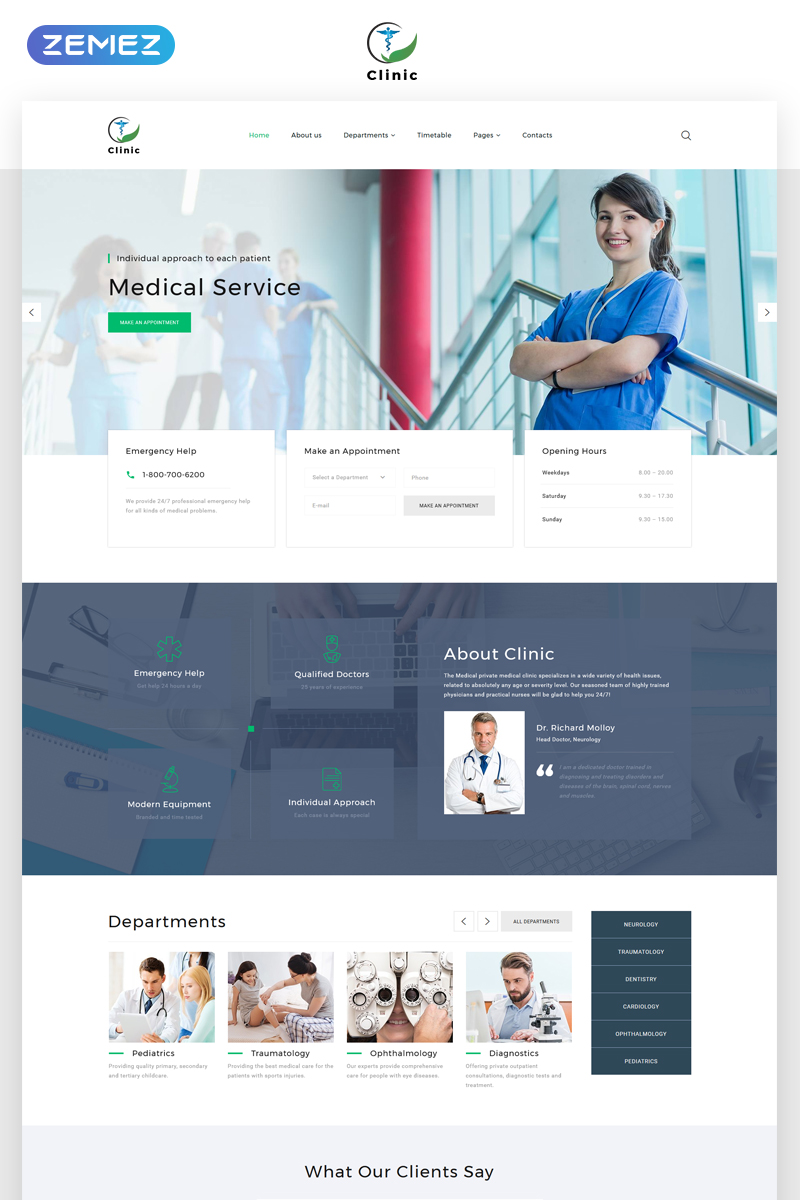 Clinic - Medical Service Multipage HTML5 Template Web №69211