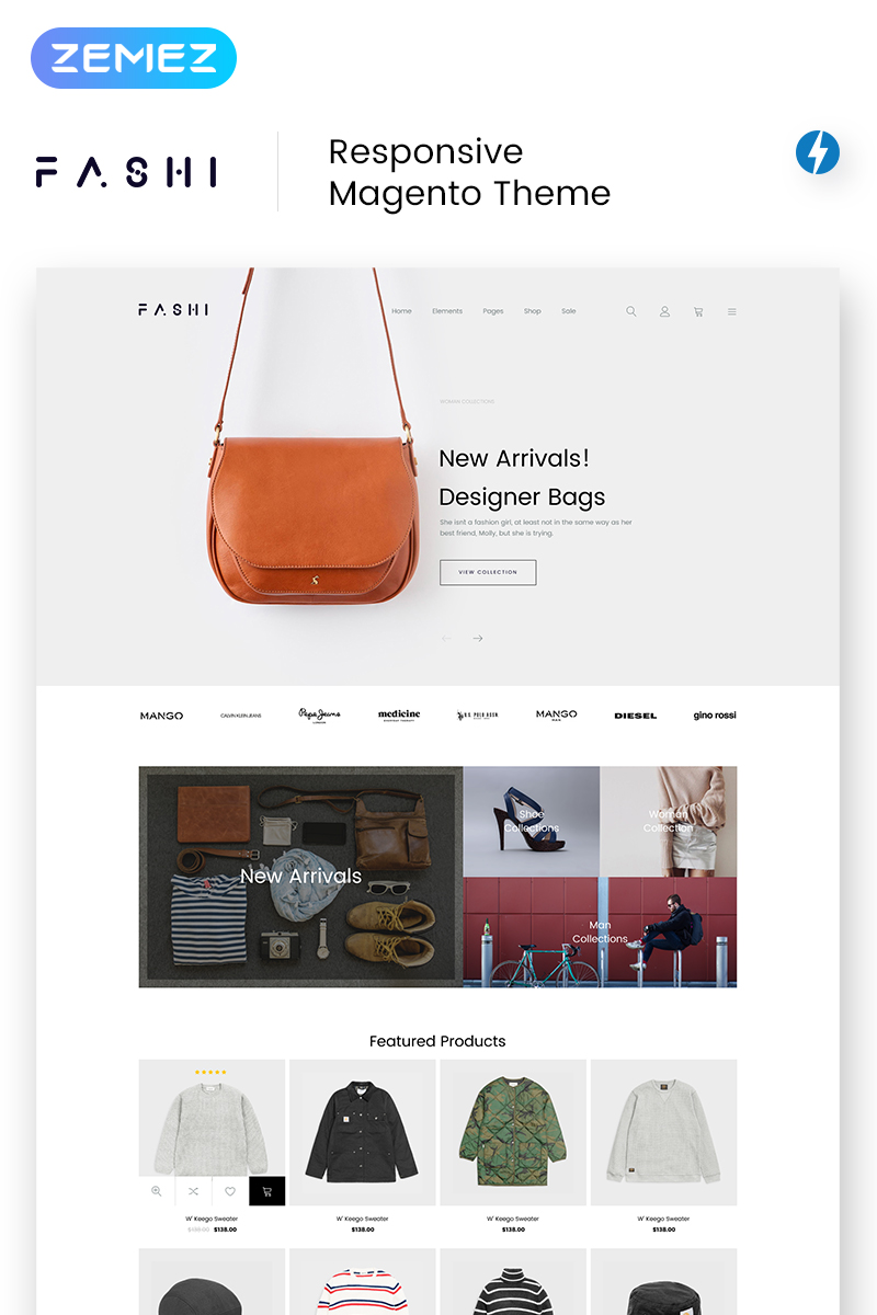 """""""Fashi - Fashion Boutique"""" thème Magento  #69252 - screenshot"""