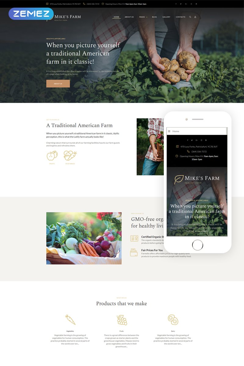 """Mike's Farm - Food Responsive Simple"" thème Joomla adaptatif #69260"
