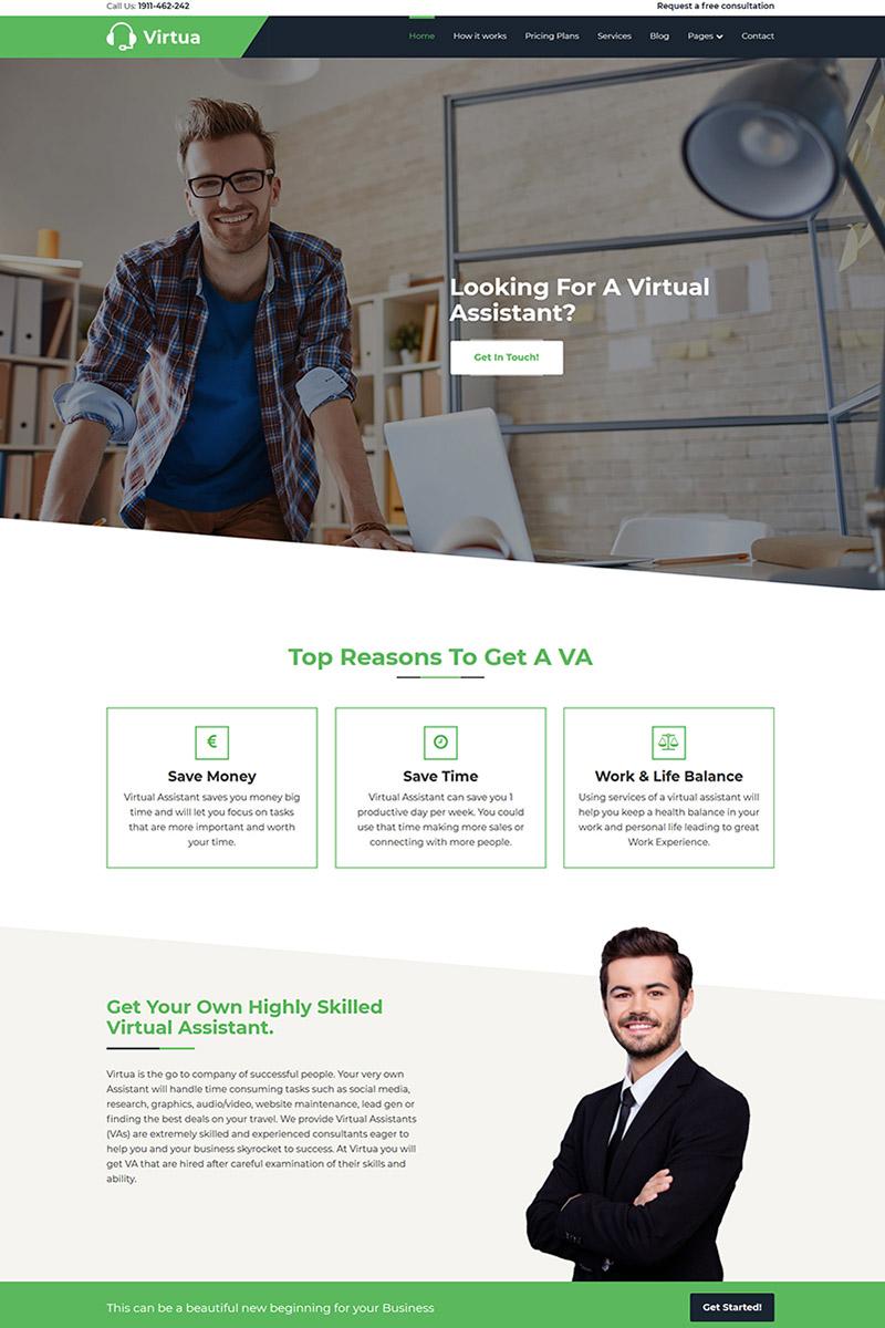 "Modello WordPress Responsive #69227 ""Virtua - Virtual Assistant"""