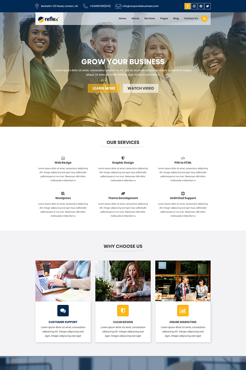 Reflex - Corporate Business and Agency PSD Template
