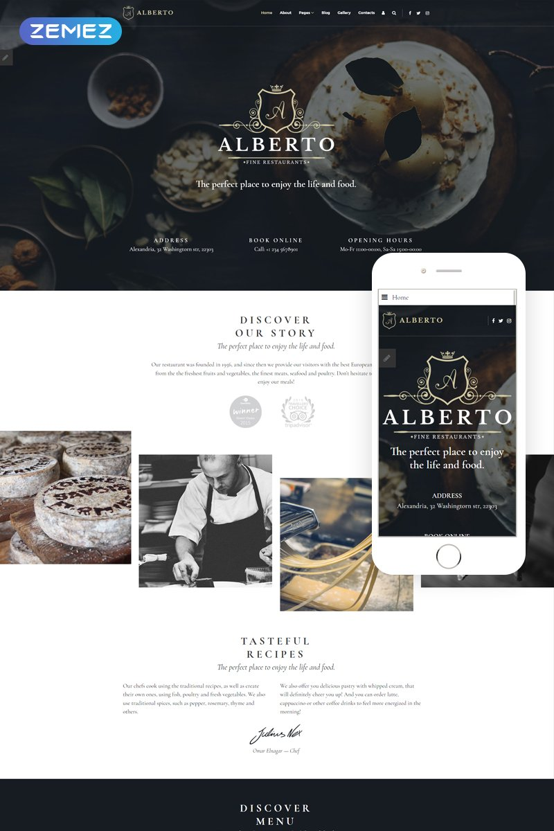 Responsivt Alberto - Restaurant Responsive Classy Joomla-mall #69291
