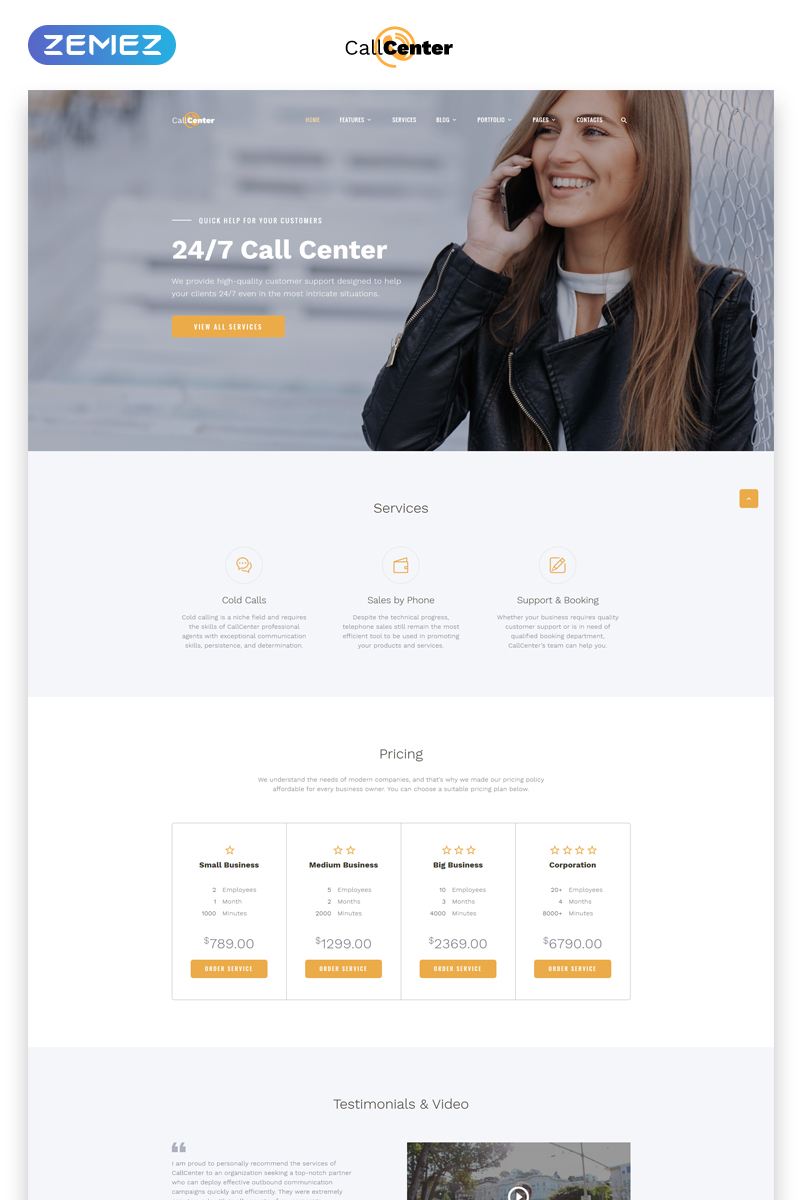 Responsivt Call Center Multipage HTML5 Hemsidemall #69212