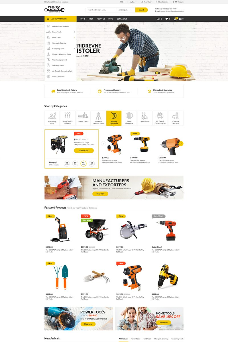 Reszponzív Tools WooCommerce sablon 69203
