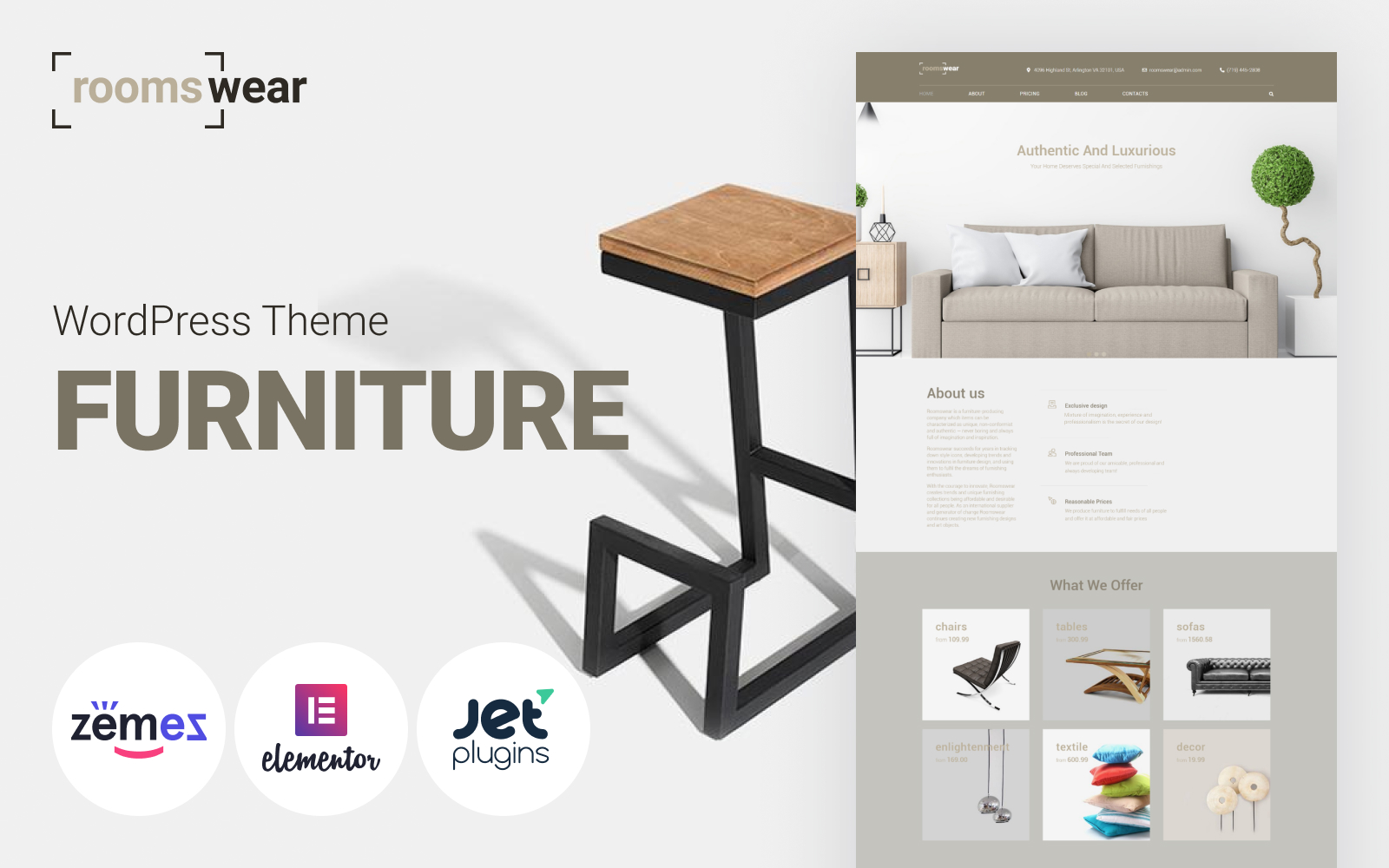 Roomswear - Furniture Elementor Tema WordPress №69255