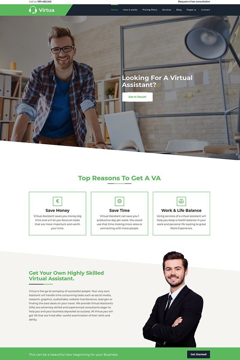 """Virtua - Virtual Assistant"" Responsive WordPress thema №69227"