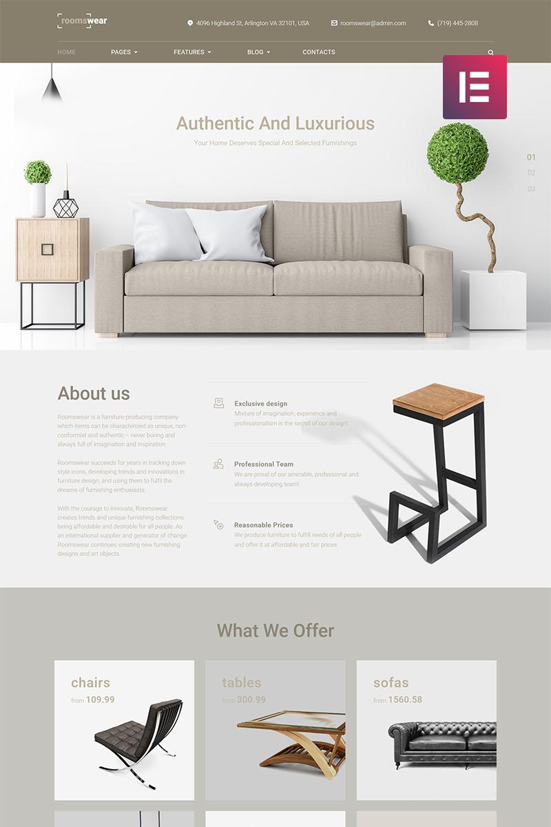 """WordPress Theme namens """"Roomswear - Furniture Elementor"""" #69255"""