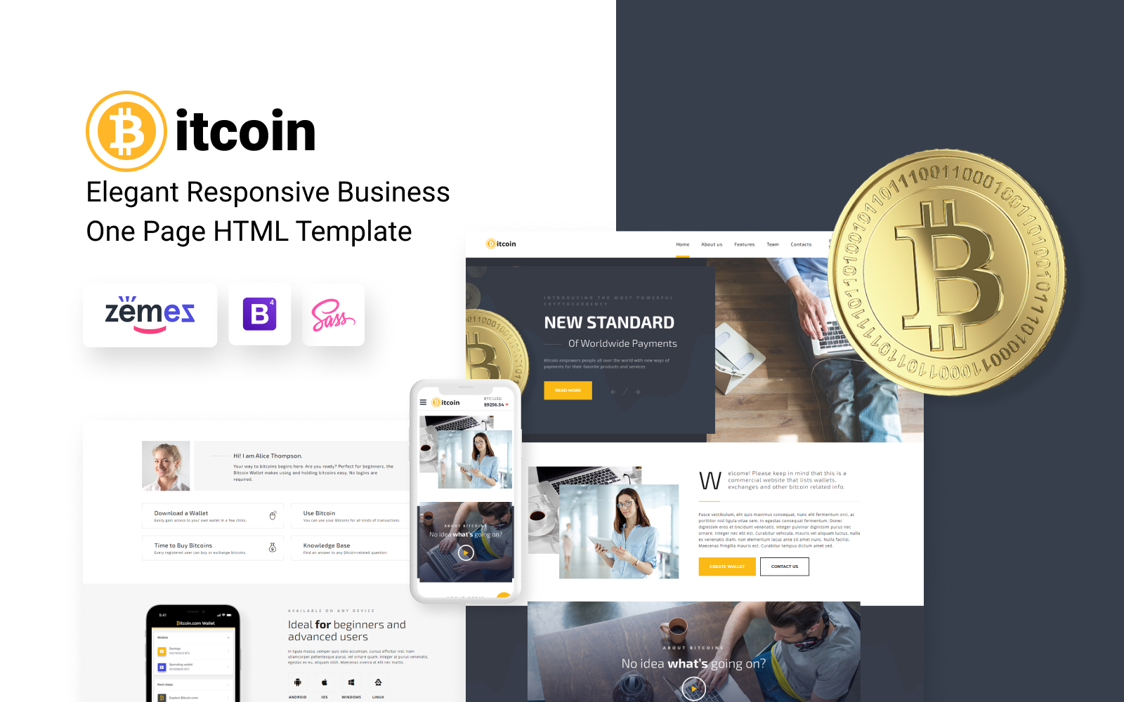 Bitcoin - Elegant Bitcoin HTML Landing Page Template
