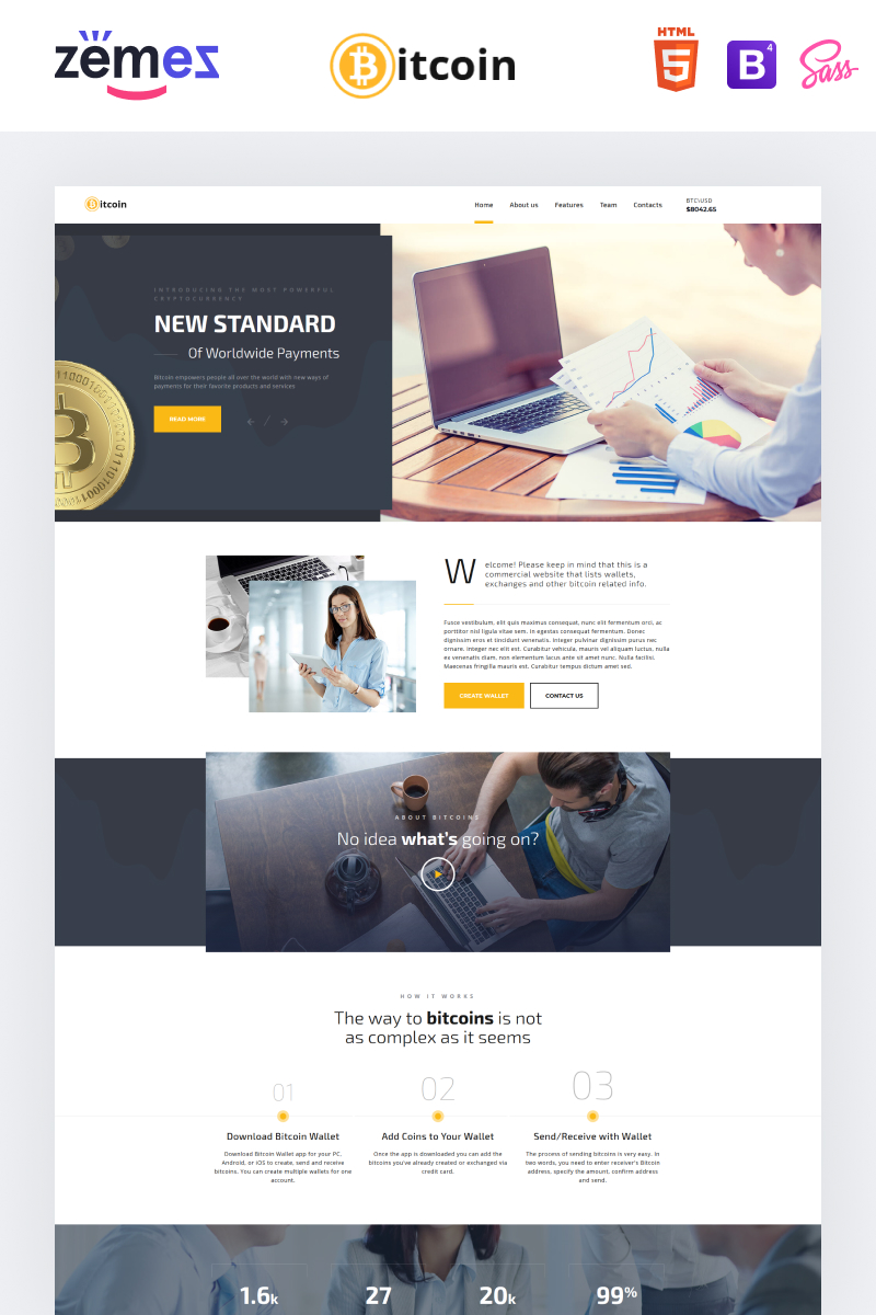 Bitcoin - Elegant Bitcoin HTML Landing Page Template