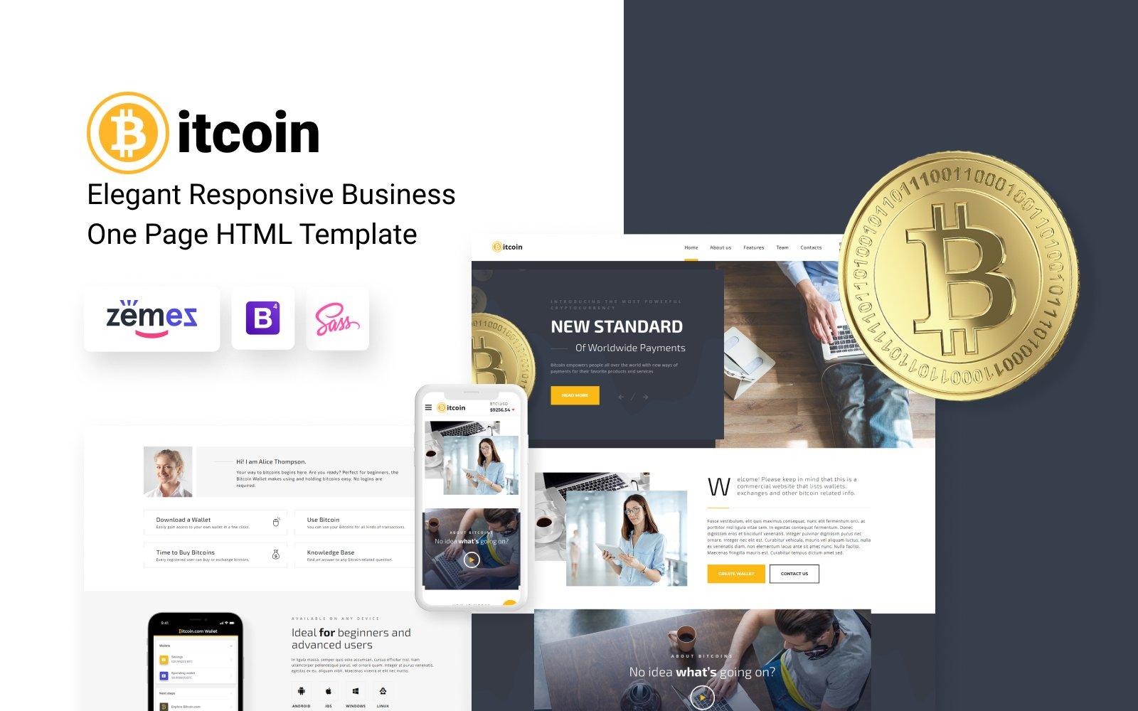 Bitcoin - Elegant Bitcoin HTML №69364