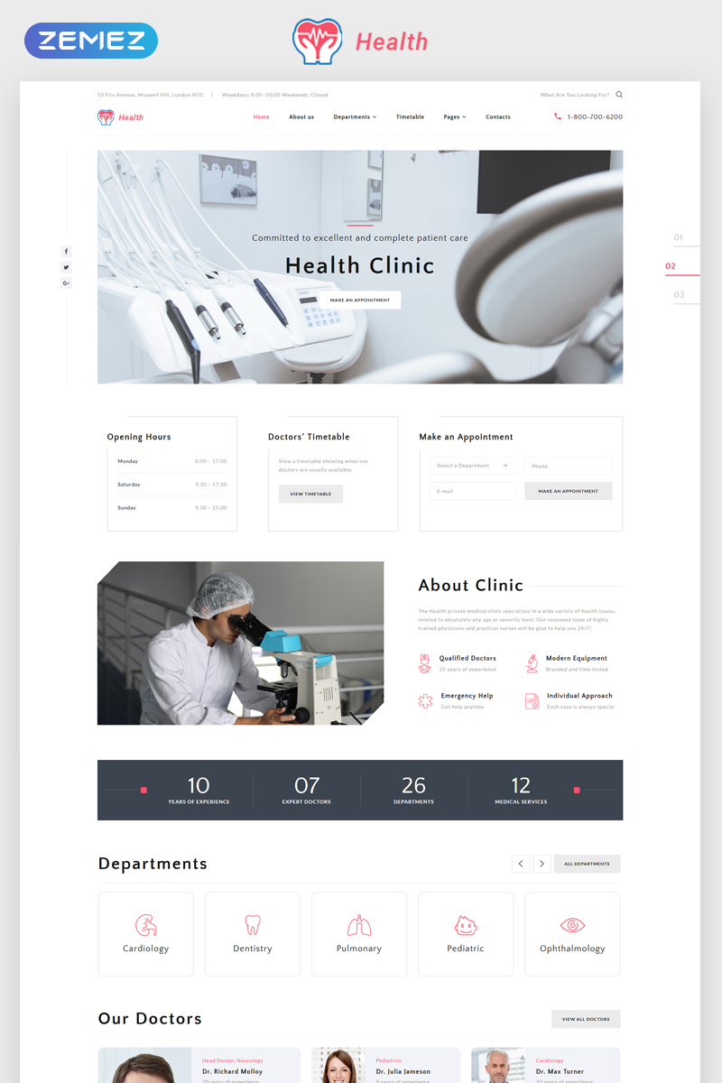 """Health - Clinic Multipage HTML5"" 响应式网页模板 #69365"