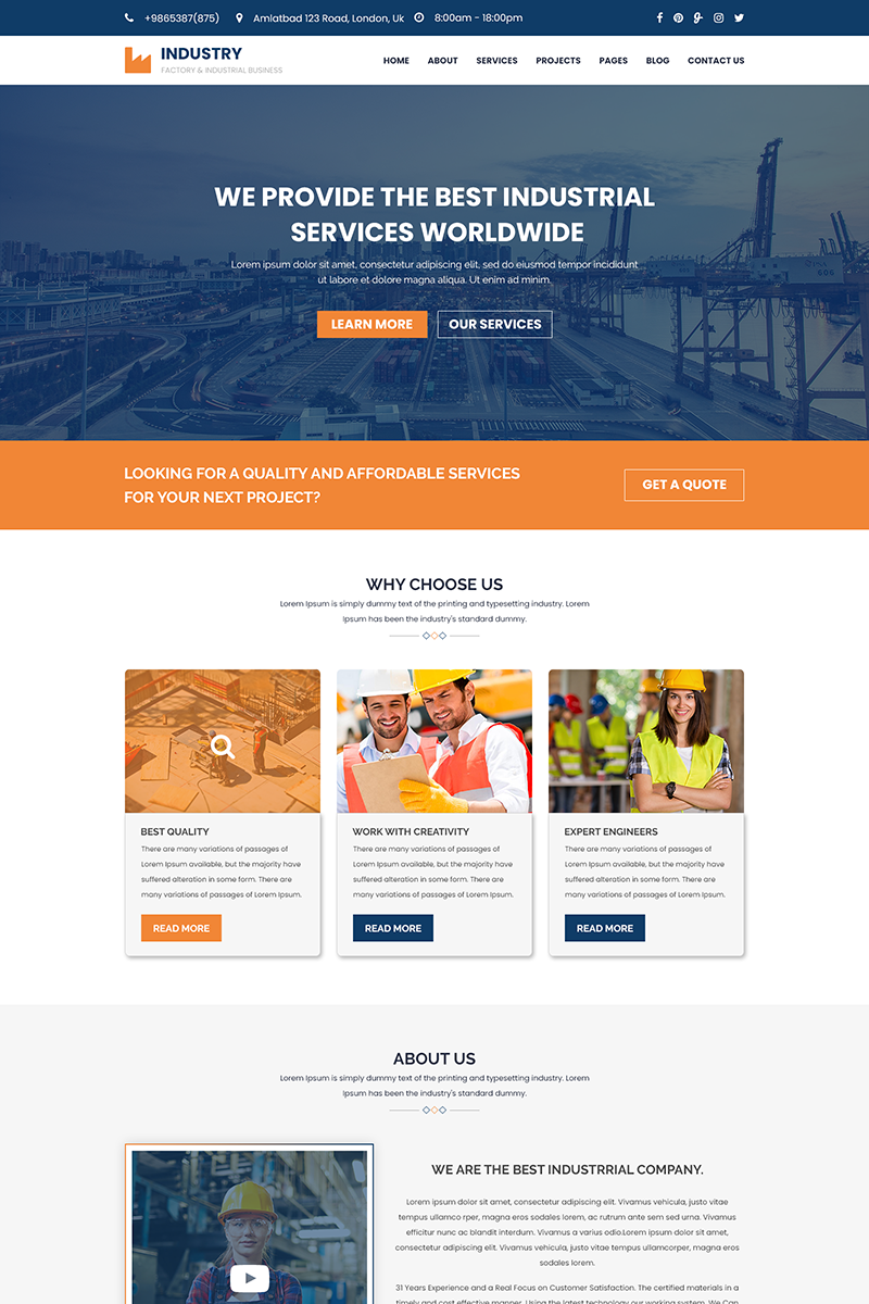 Industry - Factory, Construction & Industrial PSD Template