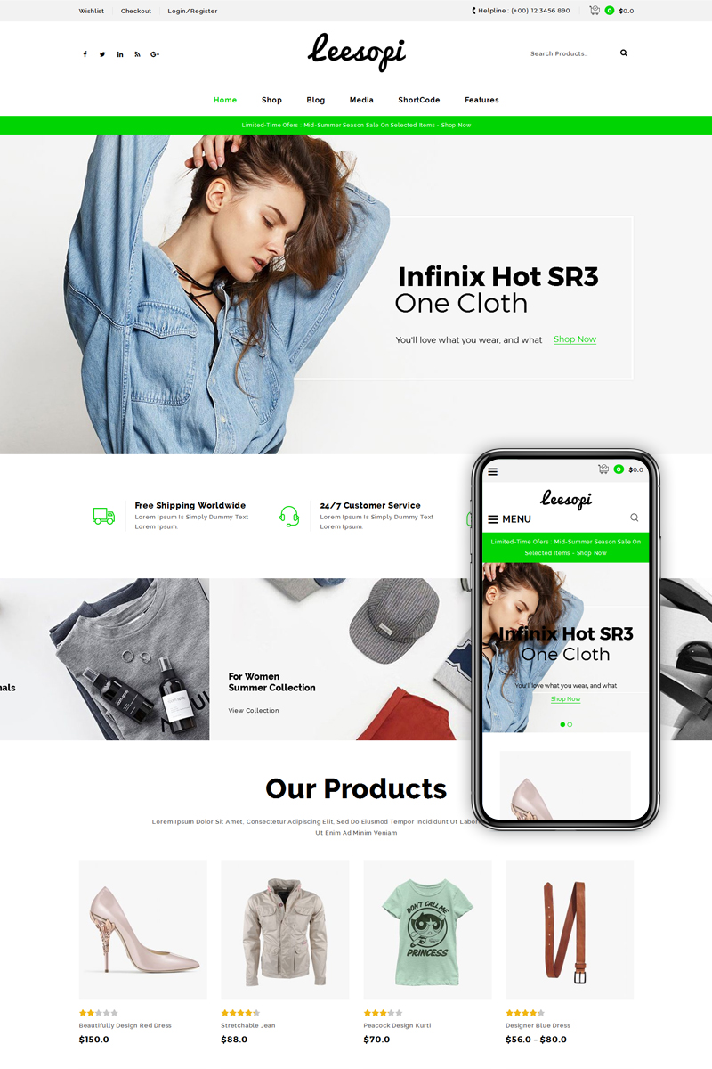 """Leesopi Multipurpose Store"" WooCommerce Thema №69368"