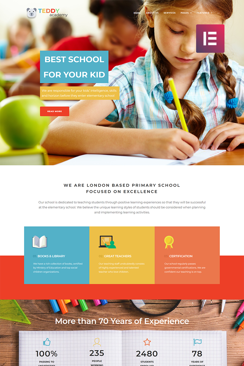 "Modello WordPress Responsive #69305 ""Teddy Academy - Primary School Elementor"""