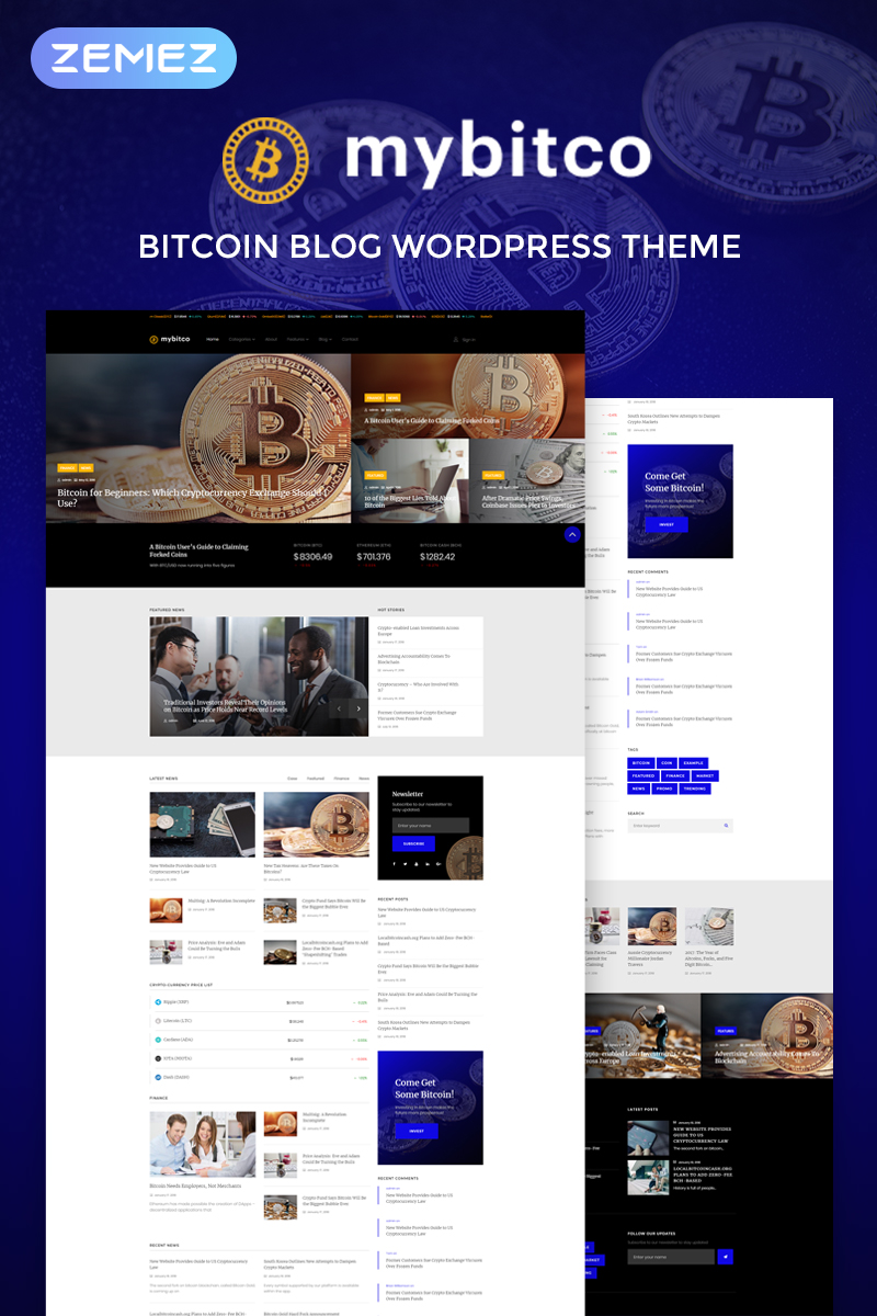 MyBitco - Efficient Cryptocurrency Blog Elementor WordPress Theme - screenshot
