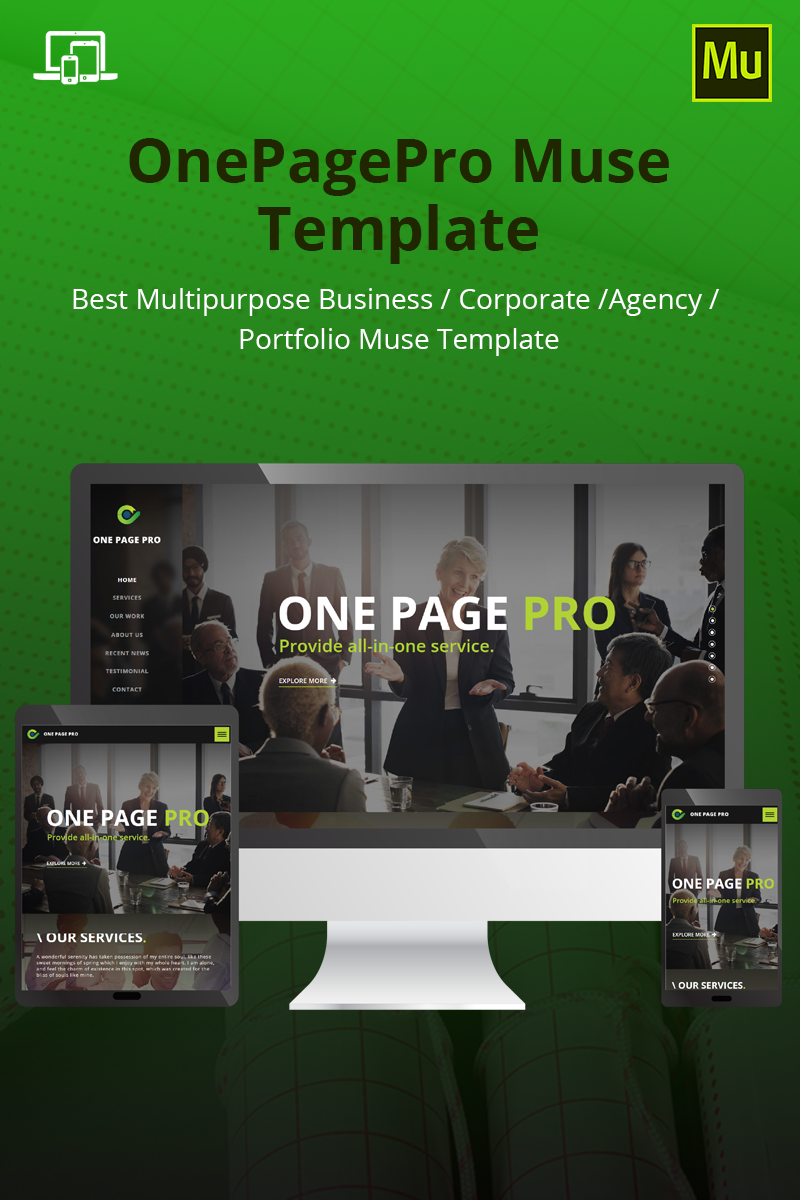 """OnePagePro"" Responsive Muse Template №69309"