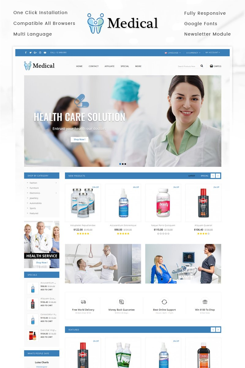 "OpenCart Vorlage namens ""Medical Store"" #69379"