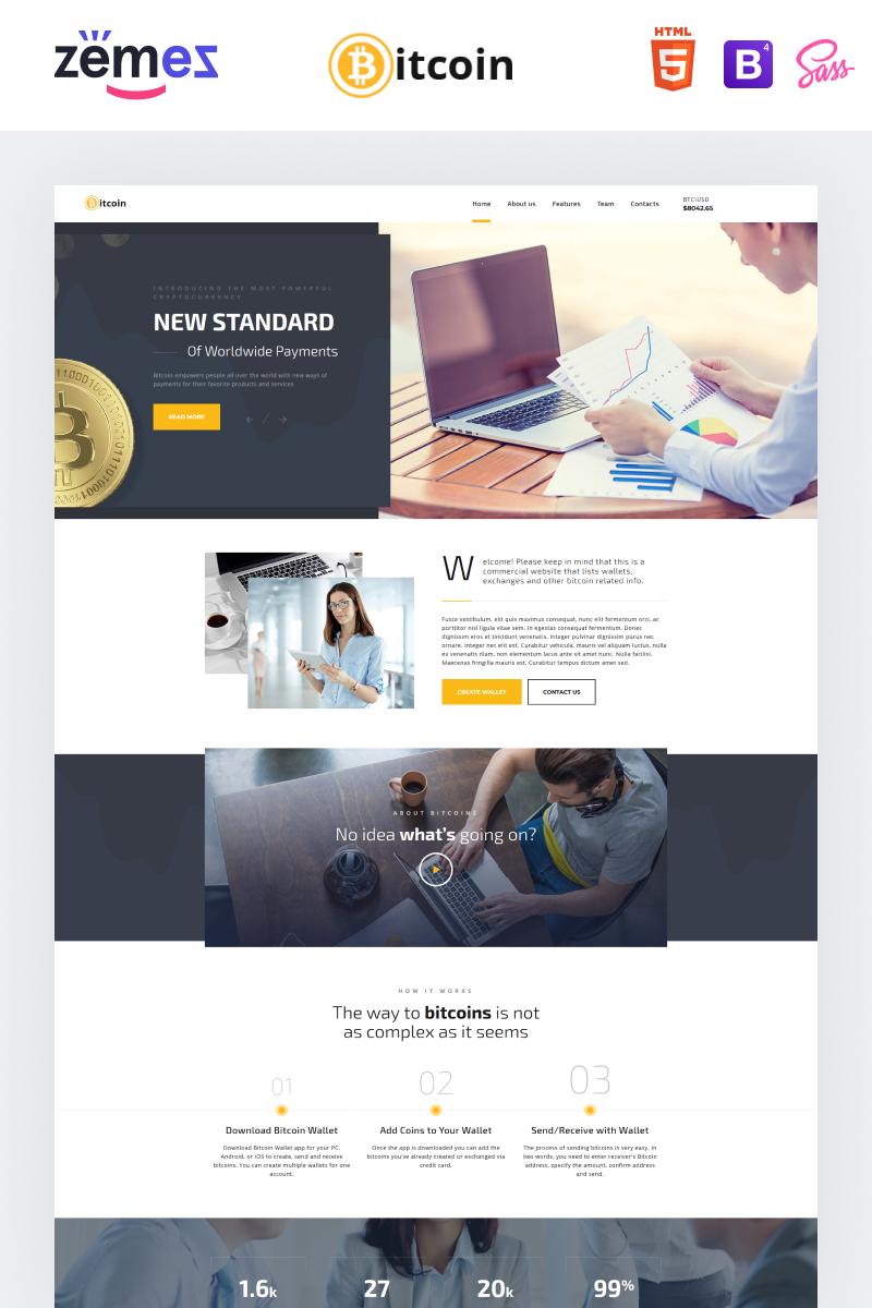 Reszponzív Bitcoin - Elegant Bitcoin HTML Nyítóoldal sablon 69364