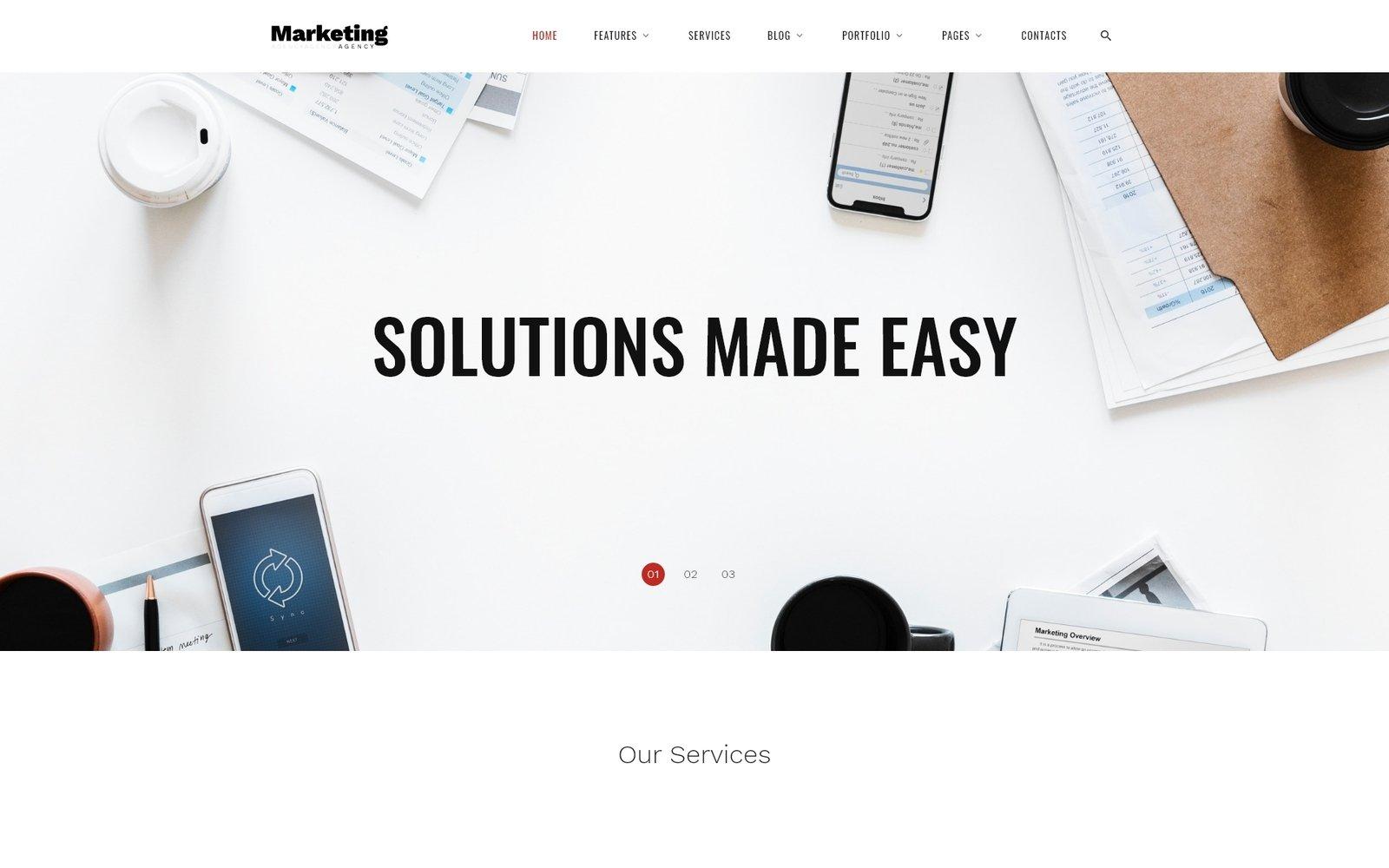 Reszponzív Marketing Agency - Responsive Marketing Agency Multipage Weboldal sablon 69397