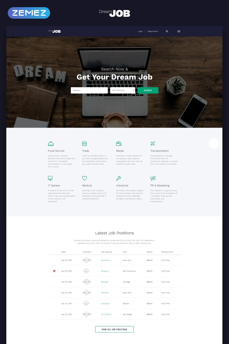 "Template Siti Web Responsive #69319 ""Dream Job - Job Portal Multipage HTML5"""