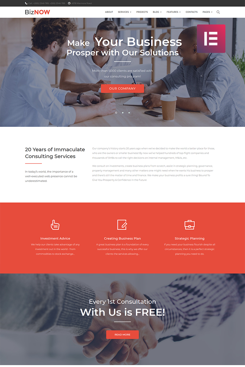 Biznow - Business Consulting Elementor WordPress Theme - screenshot