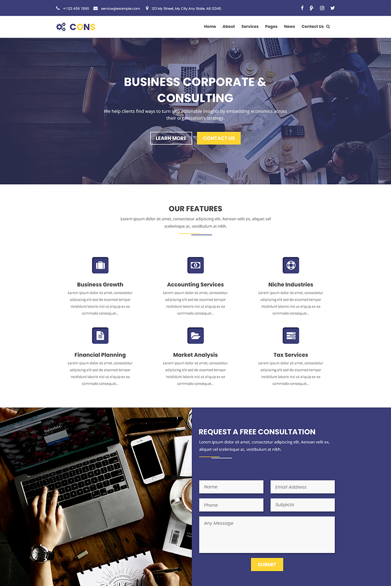 CONS - Corporate, Consulting and Business PSD Template