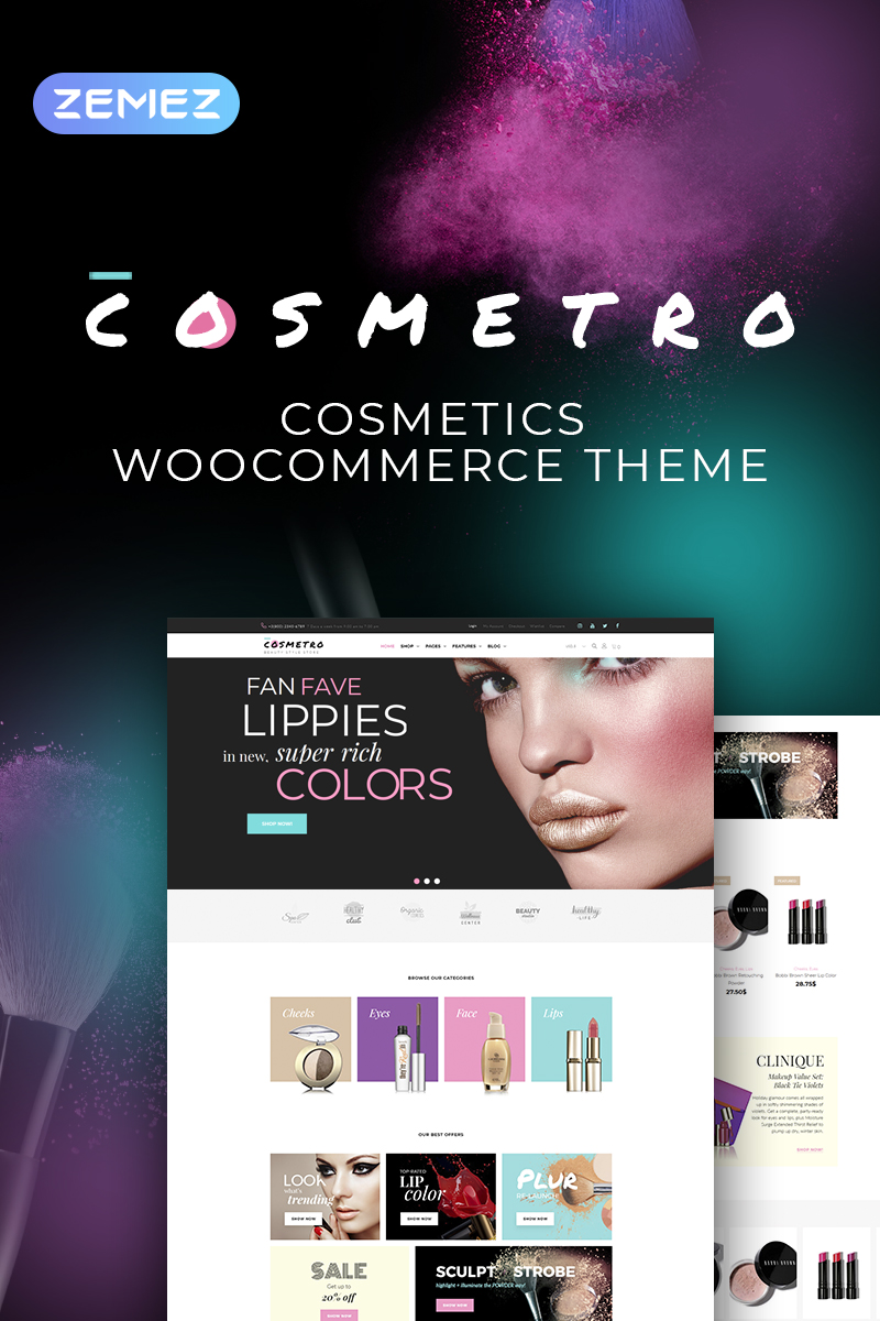 Cosmetro - Cosmetics Store Elementor WooCommerce Theme - screenshot