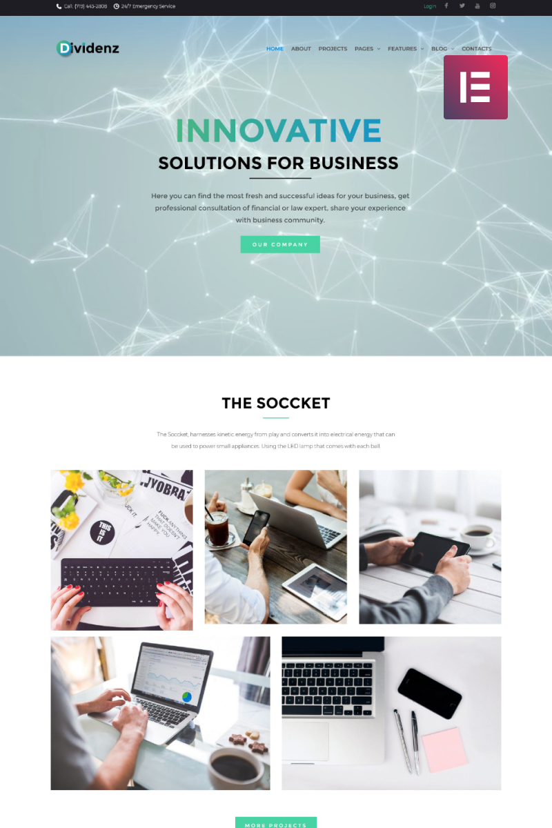 """Dividenz - Investment Company Elementor"" 响应式WordPress模板 #69423"