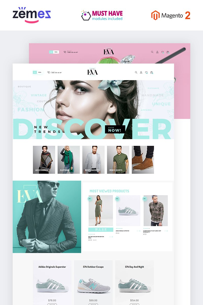 """EVA - AMP Fashion Store"" Magento Thema №69471"