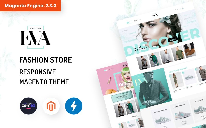 """EVA - AMP Fashion Store"" 响应式Magento模板 #69471"