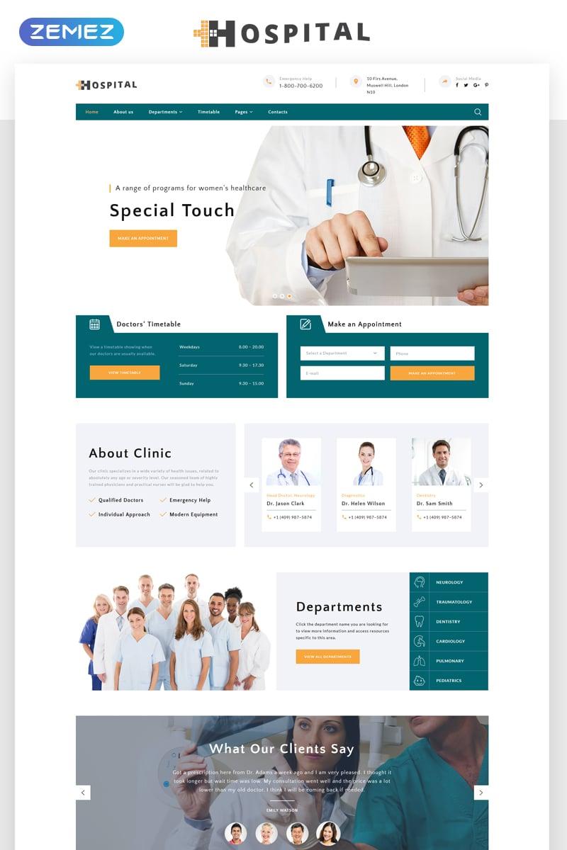 """Hospital - Medical Service Multipage HTML5"" modèle web adaptatif #69485"