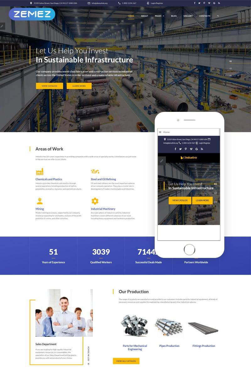 """""""Industro - Industrial Company"""" Responsive Joomla Template №69482 - screenshot"""