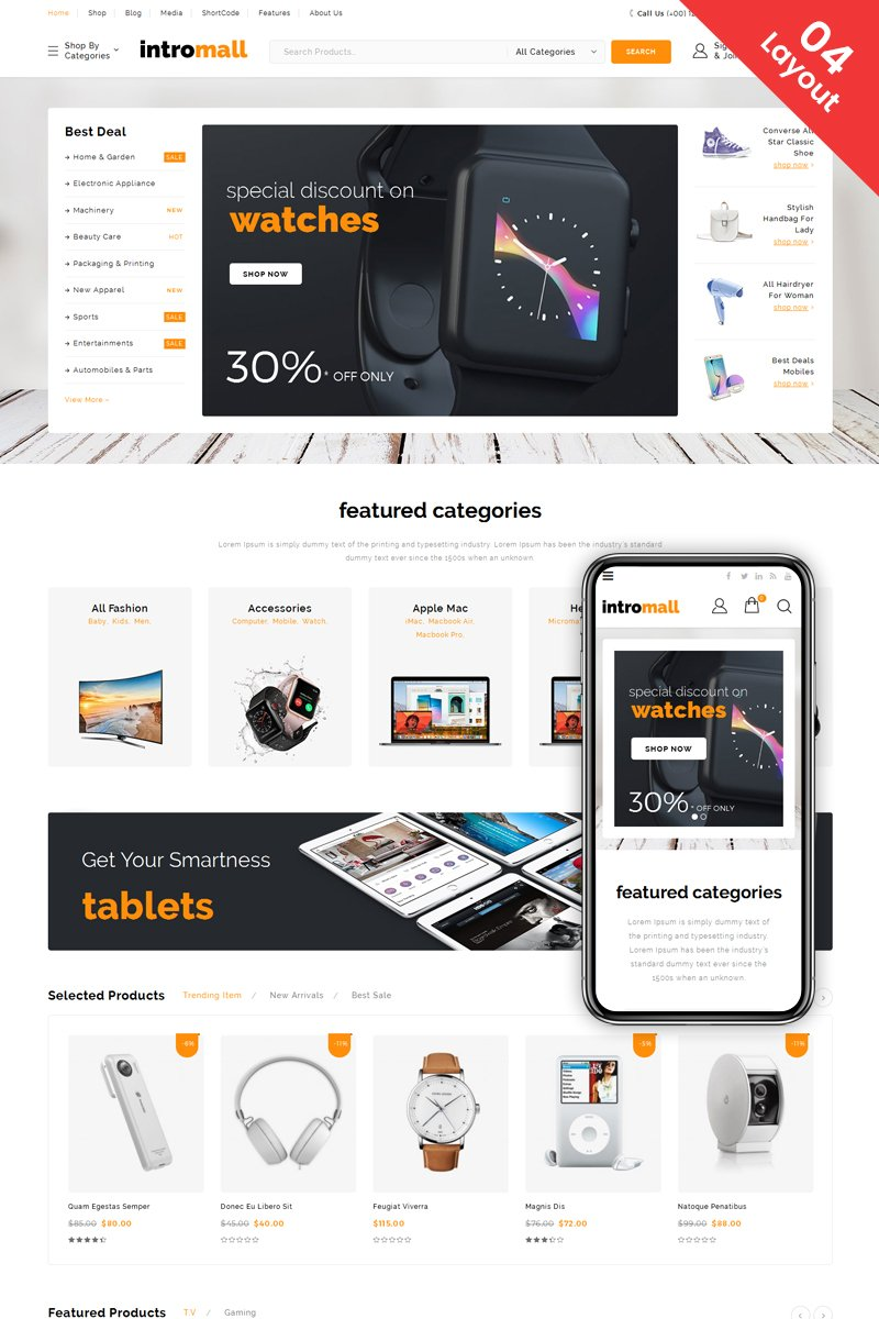"""Intromall - Mega Store"" Responsive WooCommerce Thema №69447"