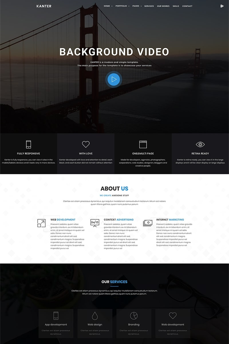 """Kanter - Corporate&Portfolio&Agency"" BootstrapWordPress模板 #69402 - 截图"