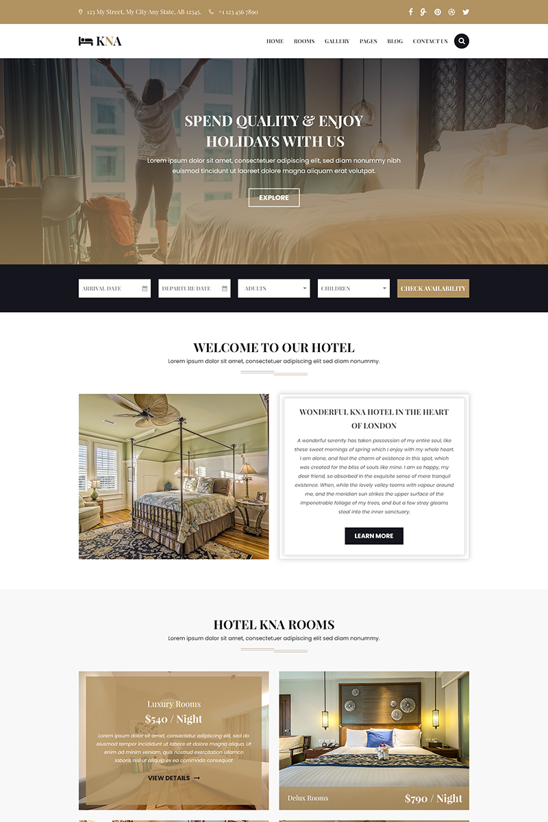 KNA - Hotel, Resort and Holiday PSD Template