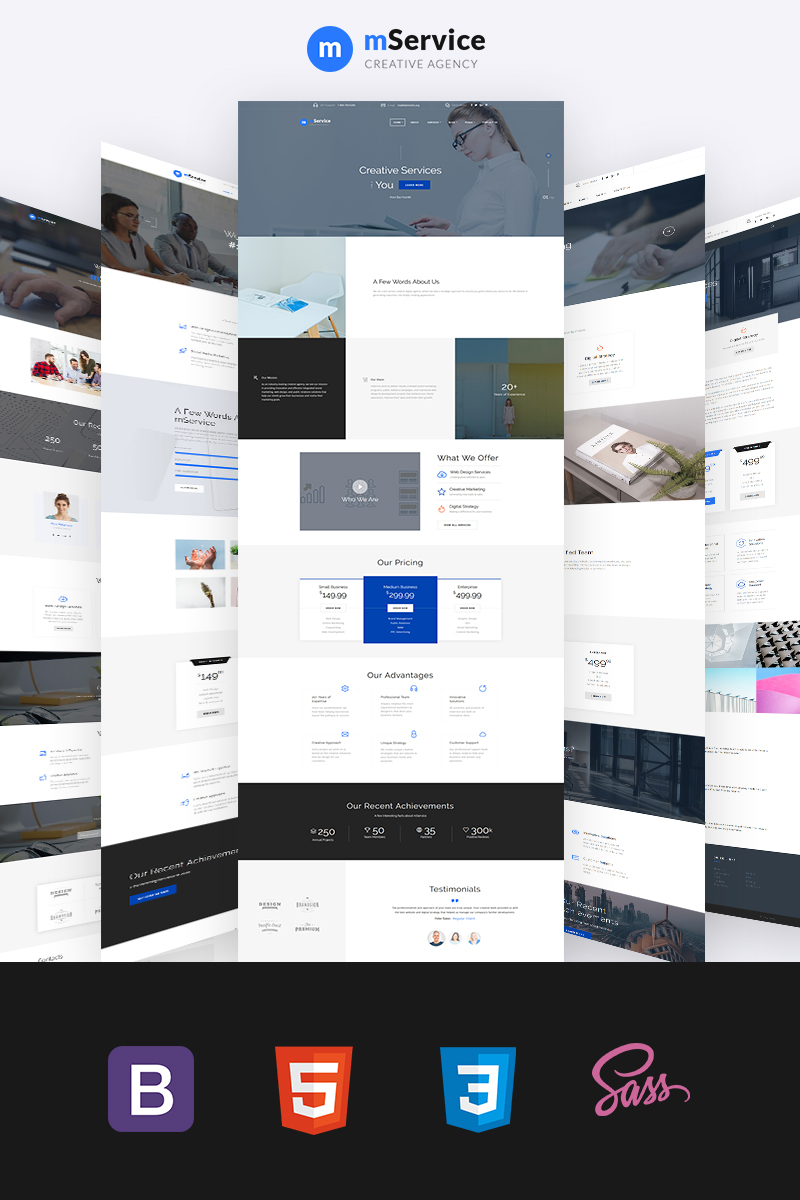 """Mservice - Stylish Creative Agency Multipage"" 响应式网页模板 #69486 - 截图"