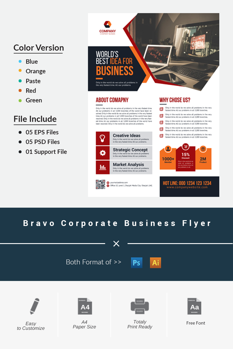 "Plantilla De Identidad Corporativa ""Bravo Corporate Business Flyer"" #69461 - captura de pantalla"