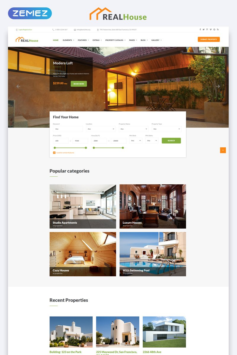 "Plantilla Web ""RealHouse - Real Estate Multipage HTML5"" #69498"